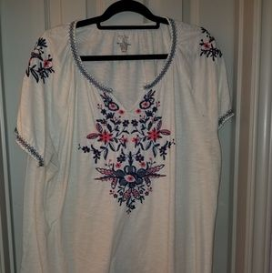 Sonoma embroidered peasant top t-shirt